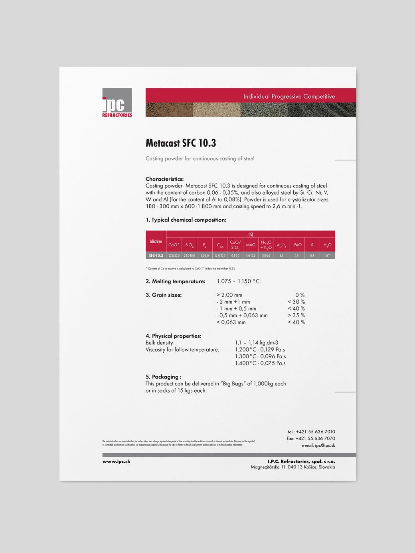 I.P.C. Refractories - katalógový list 1