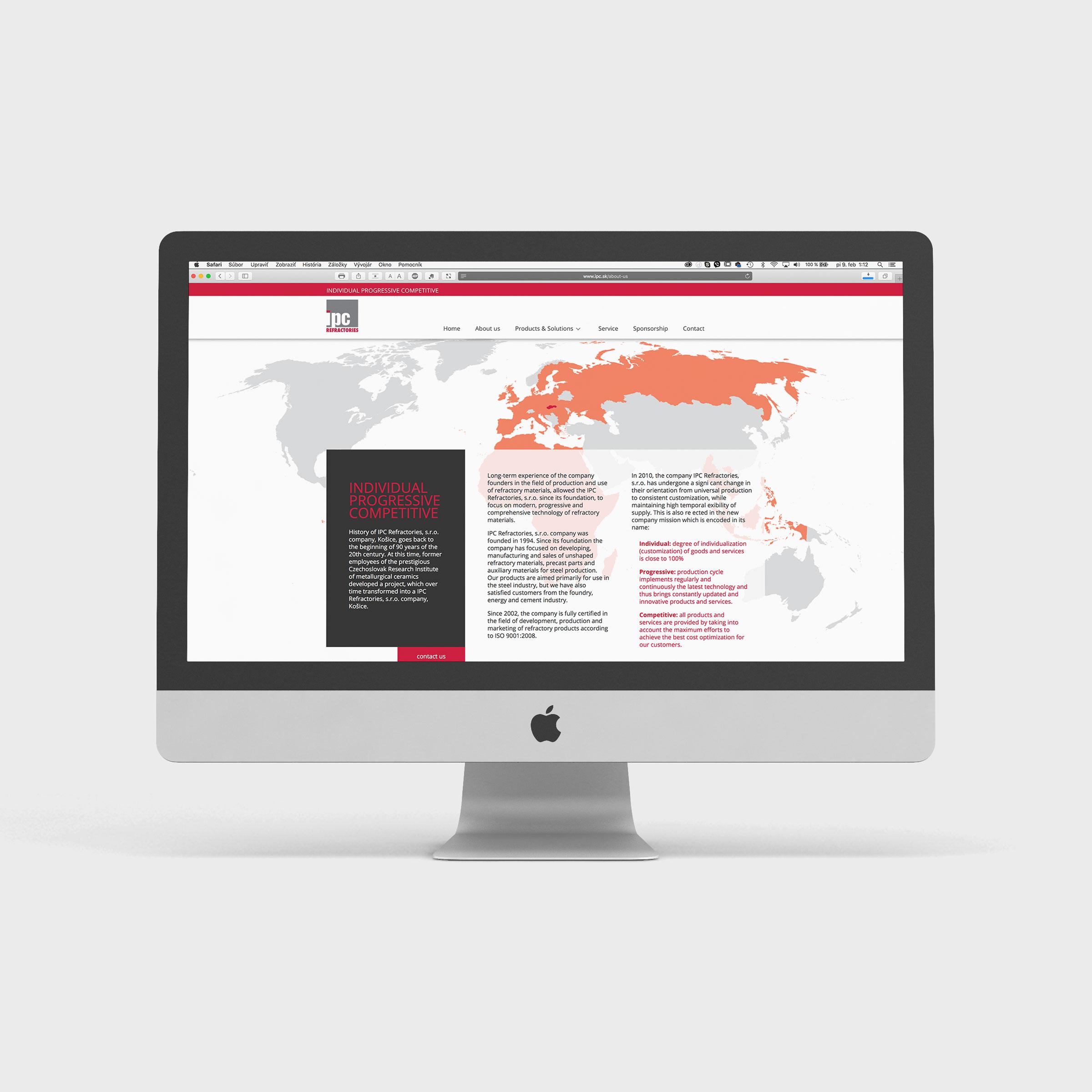 I.P.C. Refractories - prezentačná webstránka 2