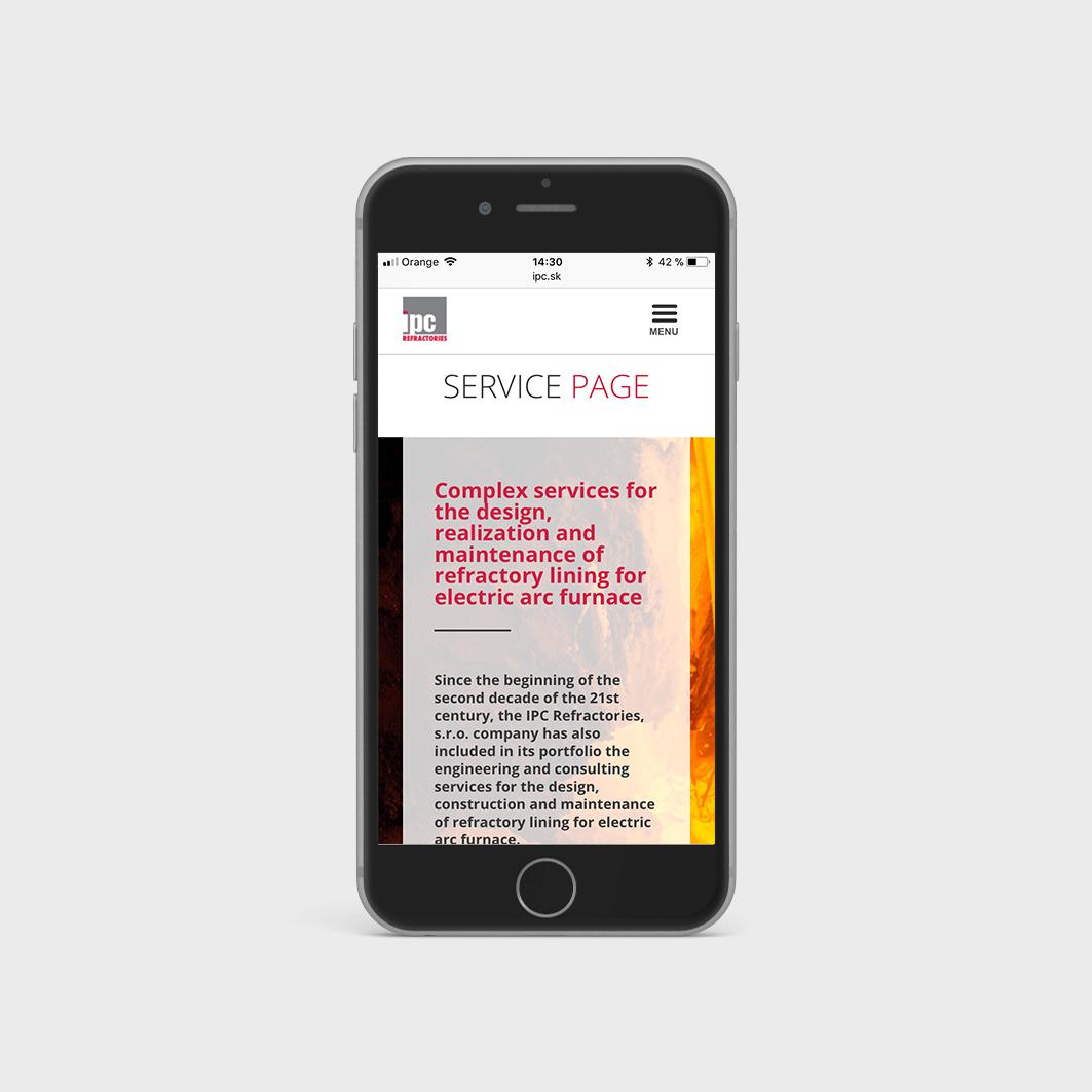 I.P.C. Refractories - prezentačná webstránka - mobilná verzia 1